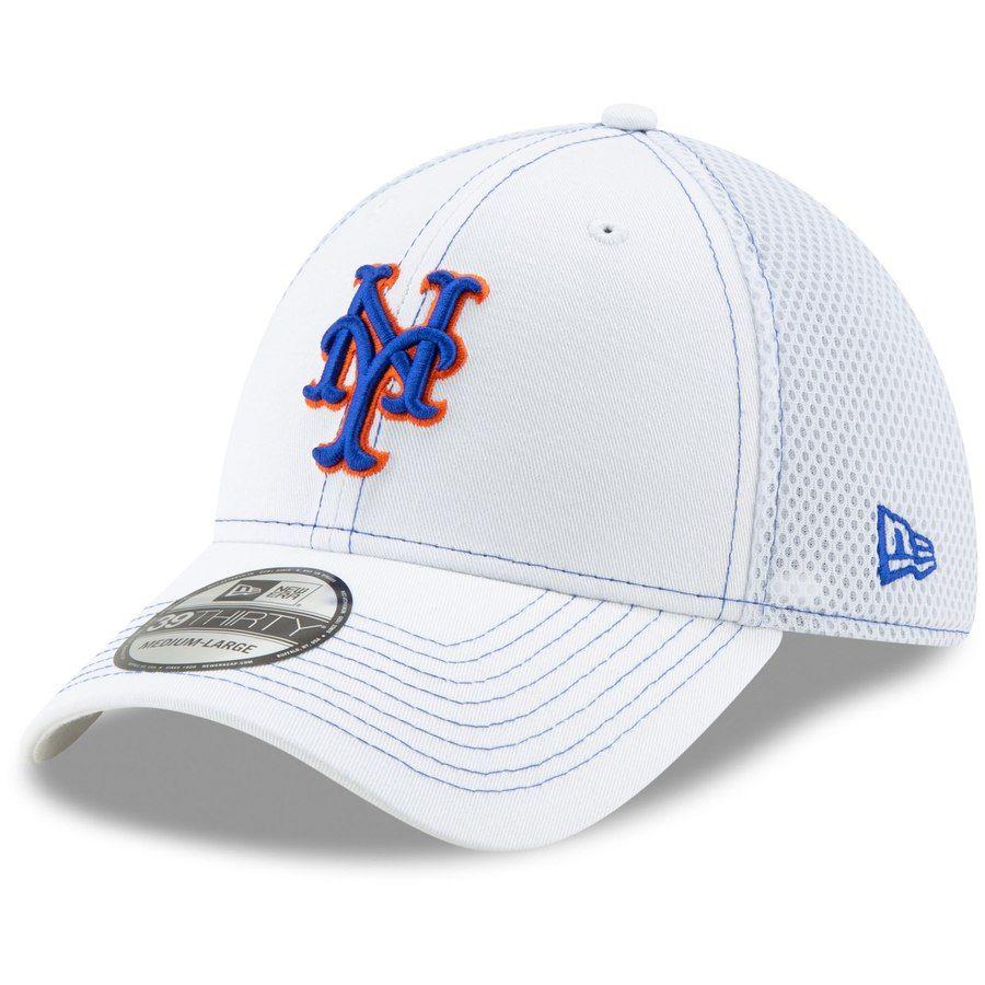 77a4d53d6251f Men s New York Mets New Era White Team Neo 39THIRTY Flex Hat