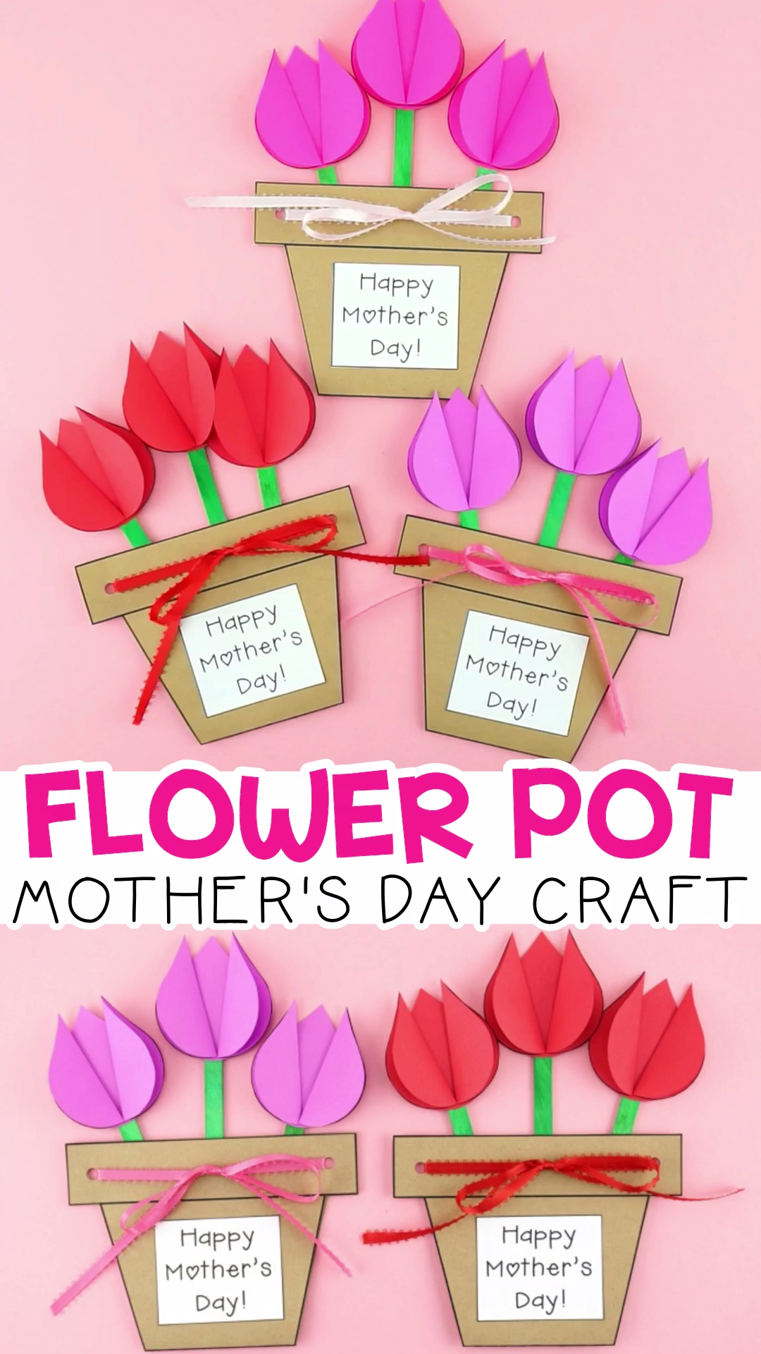 Mother S Day Flower Pot Craft Easy Gift For Kids To Make For Mom Video Video Mothers Day Flower Pot Mothers Day Crafts For Kids Crafts For Kids