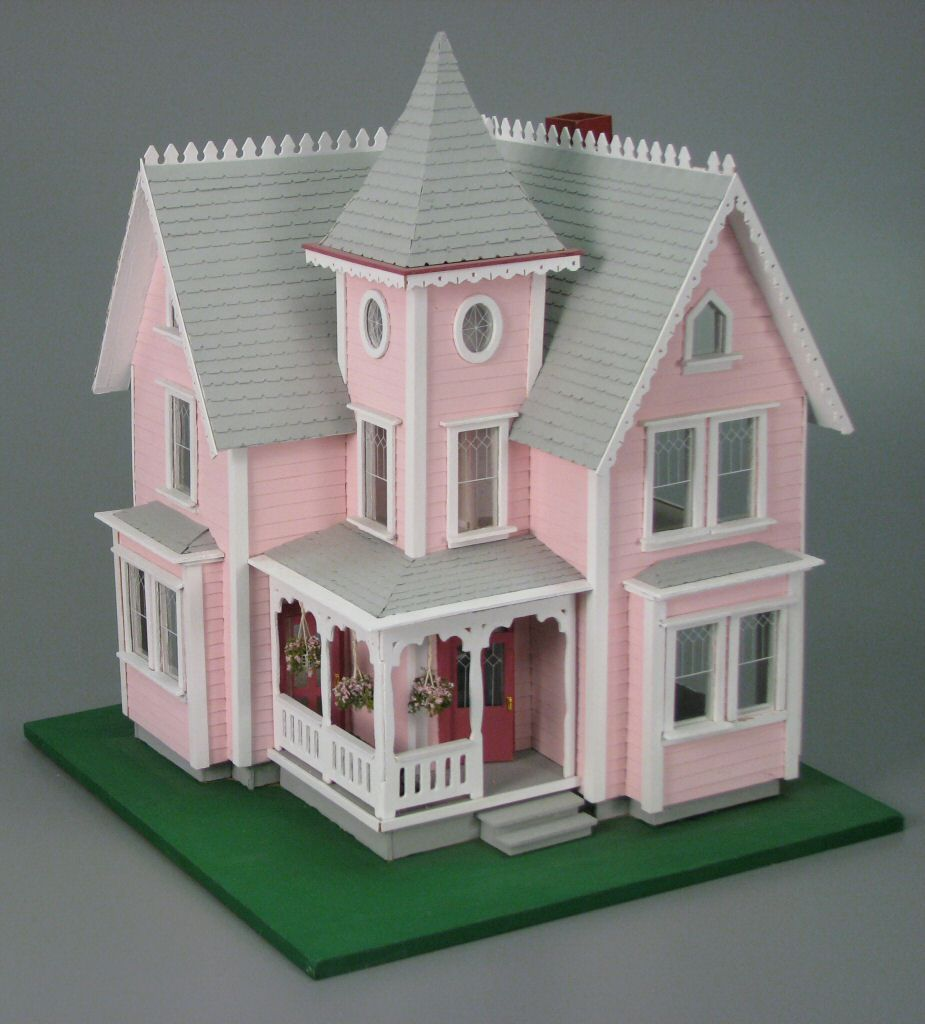 Two Story Pink Victorian Cottage Dollhouse