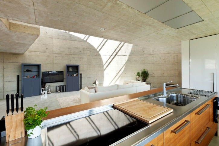 Wohnzimmer Decken Konzept : Offenes konzept küche mit beton wände und decke die Öffnung für den