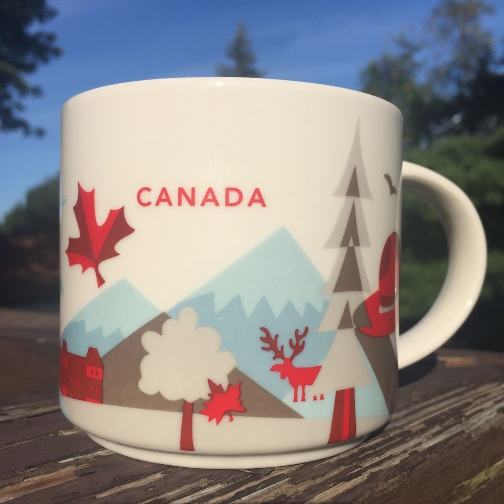2f693d7dde7 Starbucks Canada Mug. You Are Here Collection 2015. Design: Maple Leaf,  Moose, Hat, Trees, Mountains & Ottawa. Color: White with Red interior. |  eBay!