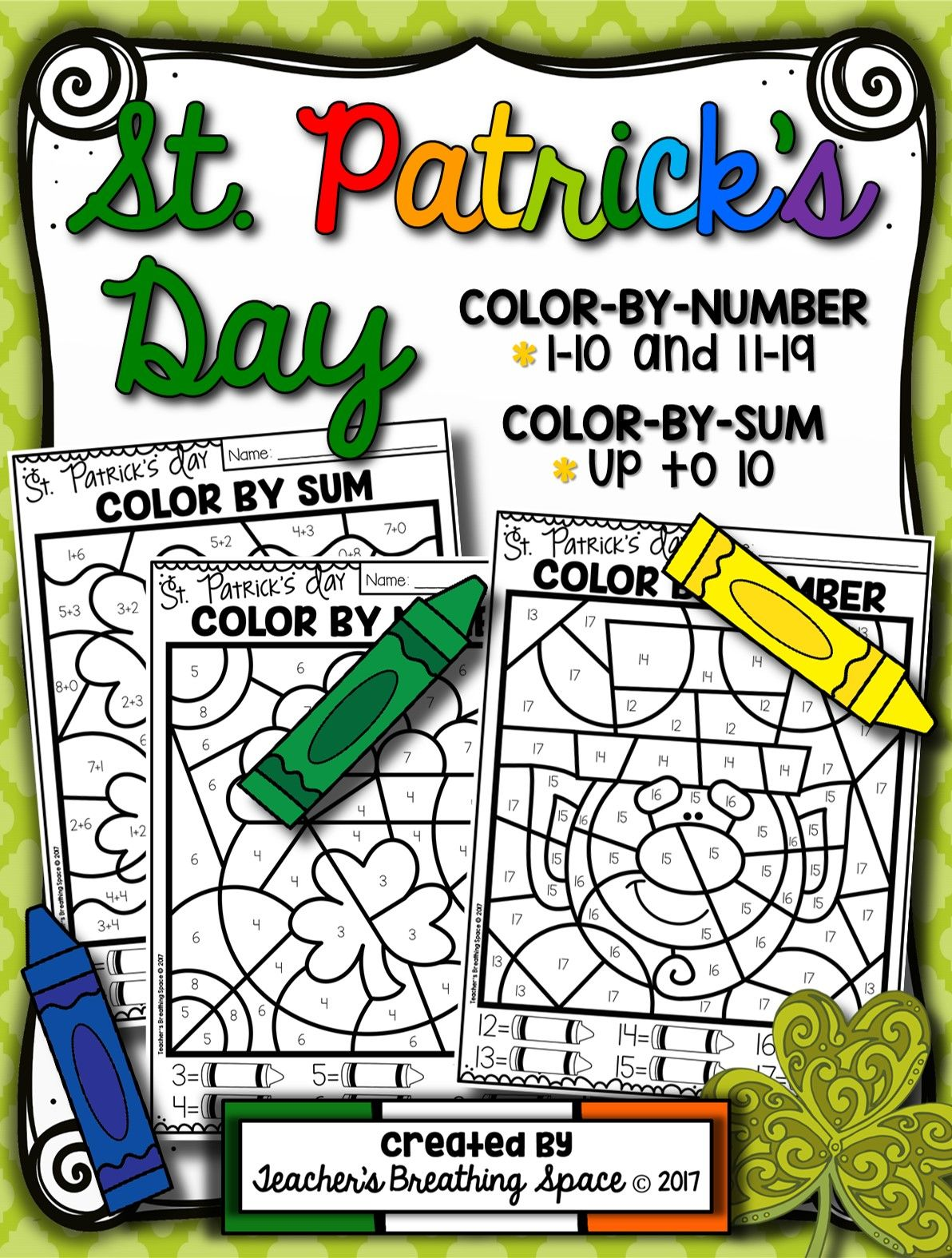 St Patrick S Day Color By Number 1 10 Amp 11 19 And Color