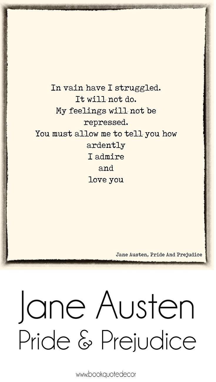Jane Austen Love Quote From Pride And Pre Ce Mr Darcy Art Print For Your Wall