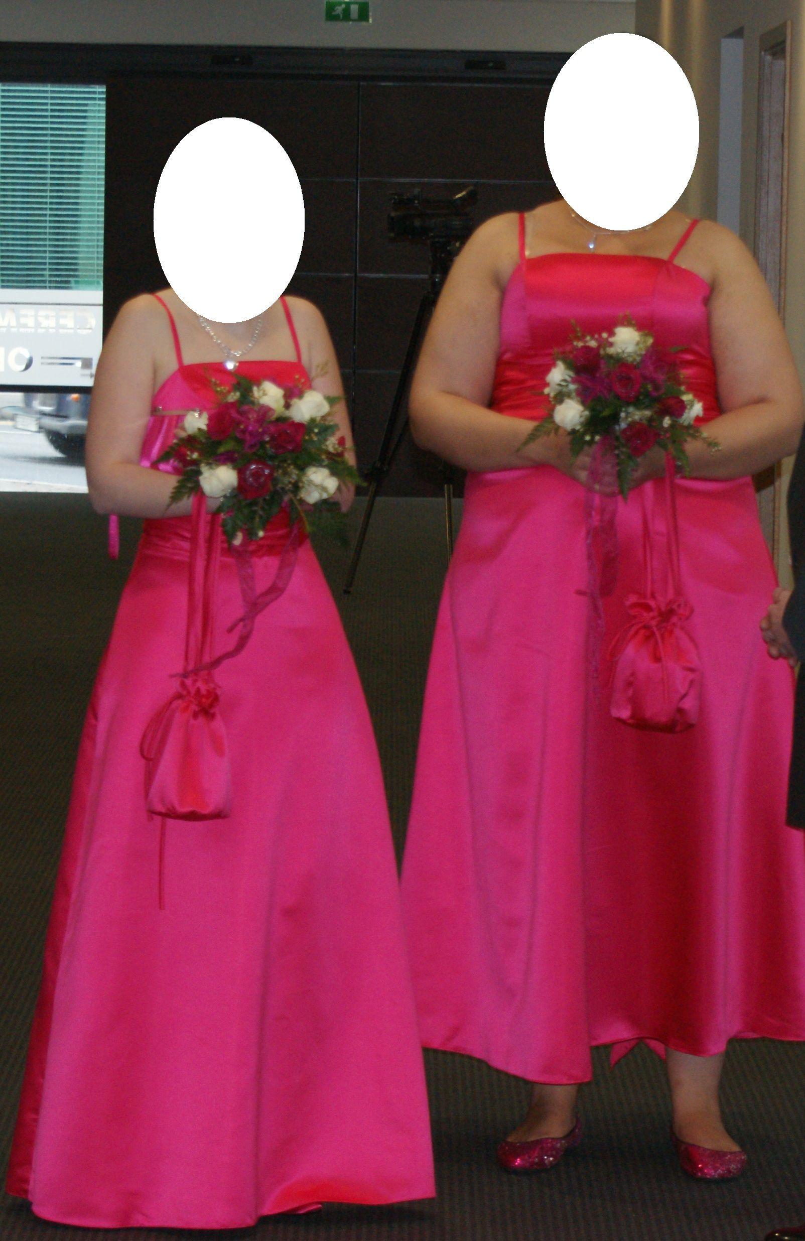 Hot Pink Bridesmaid Dresses | Hot pink Bridesmaid dress and dolly ...