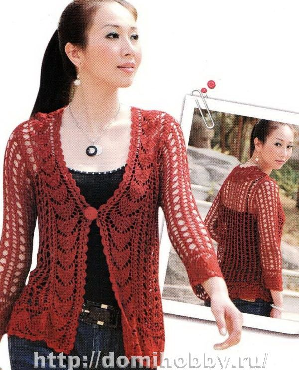 Red summer sweater with diagrams, use web translator for written ...