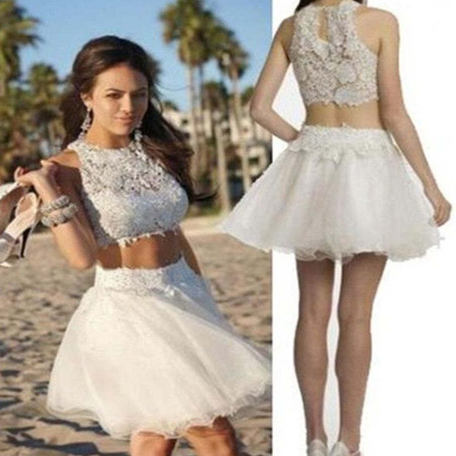 popular white lace two pieces tight country freshman homecoming