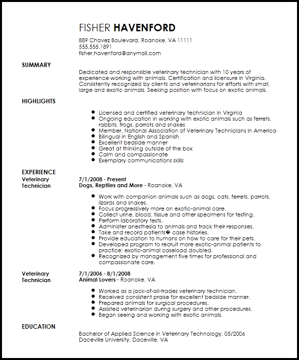 Resume Now Free Professional Veterinary Technician Resume Template Resumenow 7fba2950 Resumesample Res Resume Templates Veterinary Technician Download Resume