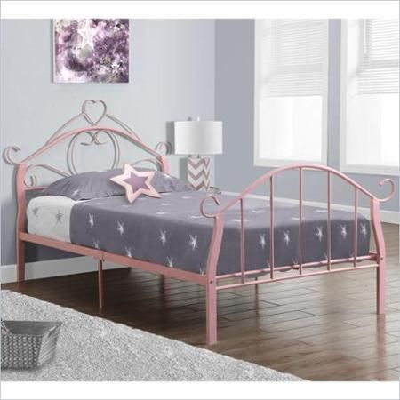 Monarch Twin Metal Bed Frame With Heart In Pink Walmart Com