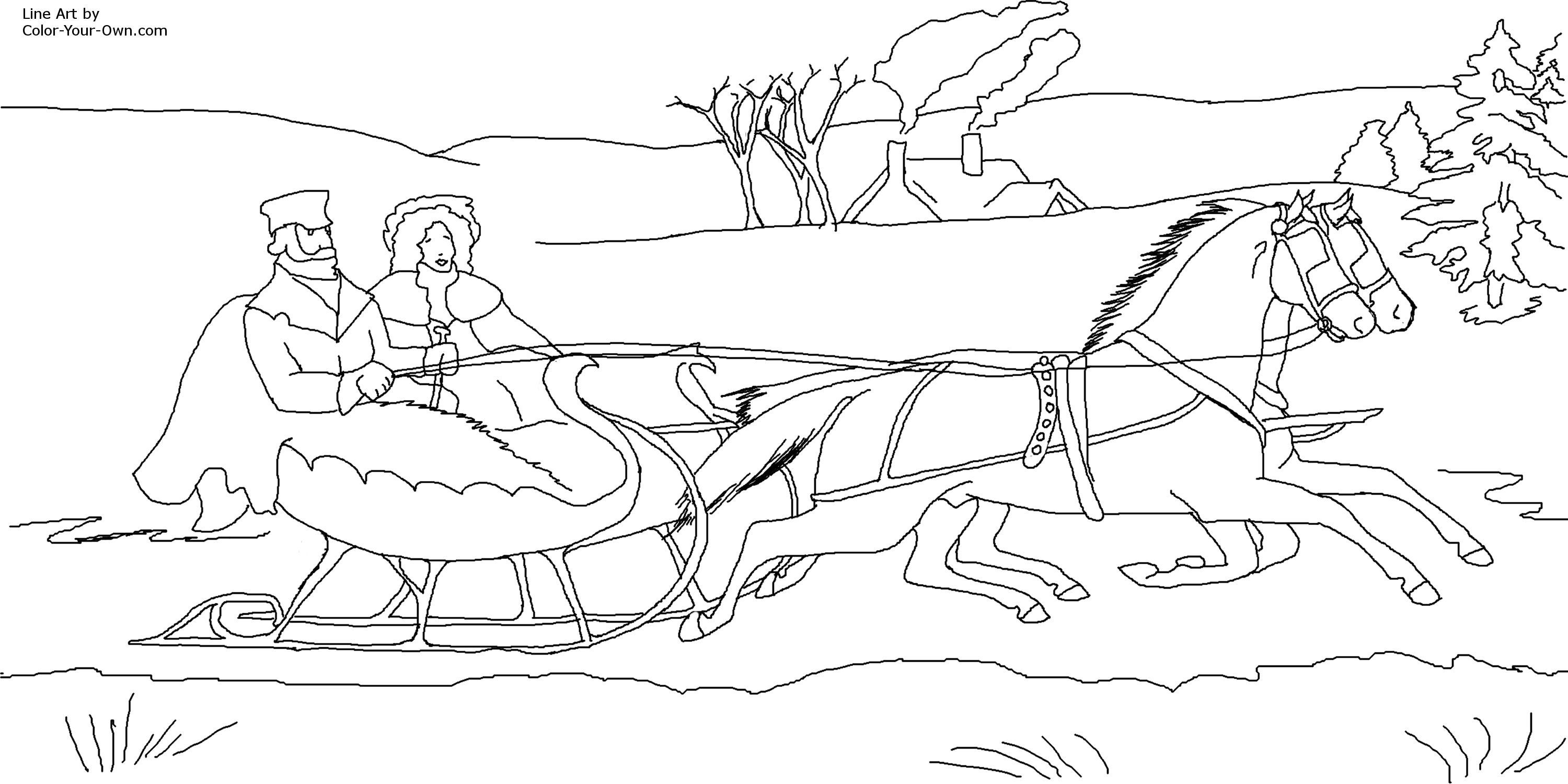 Christmas Jingle Bells Sleigh Coloring Page (With images ...