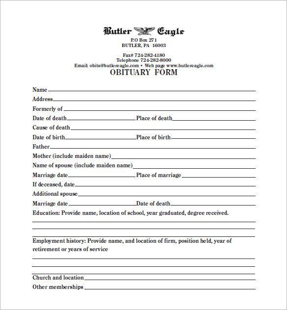 33 Free Obituary Template Download Word Pdf Obituaries