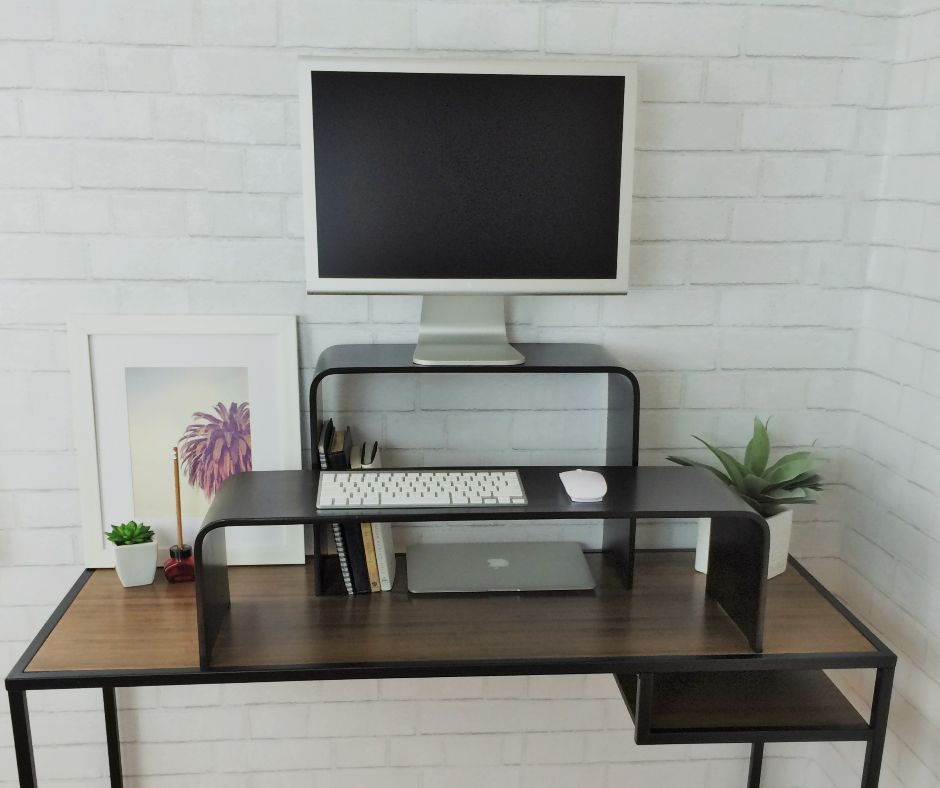 Monitor Keyboard Riser Office Space Pinterest Desk Stand Up