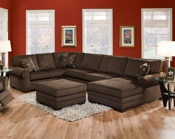 Deluxe Simmons Brown Sectional With Chaise 998 American Freight On Dale Mabry Brown Sectional Sofa Living Room Sectional Living Room Sets Furniture