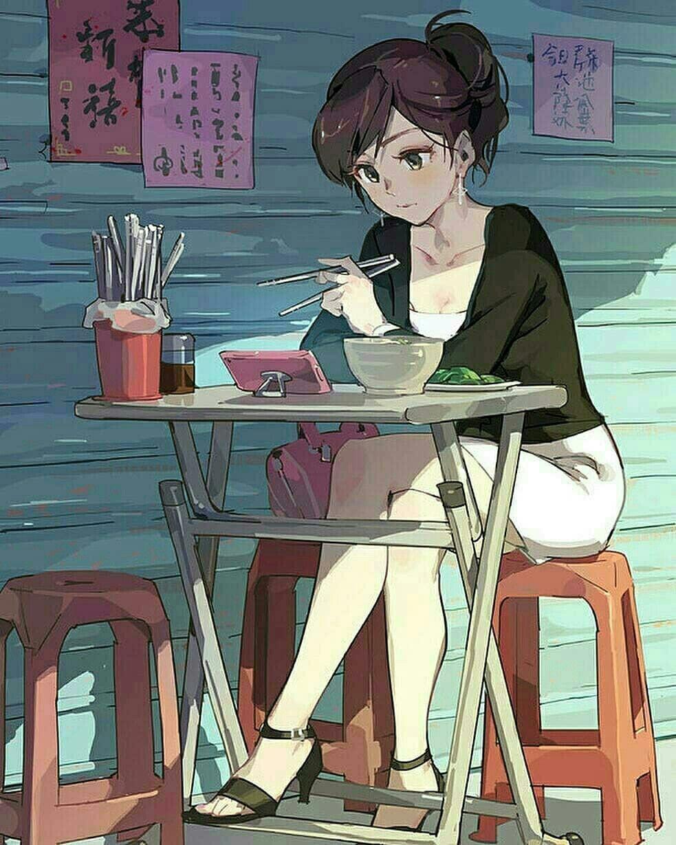 Alone Cartoon Girl eating alone. nom nom.   anime art girl, anime art, epic art