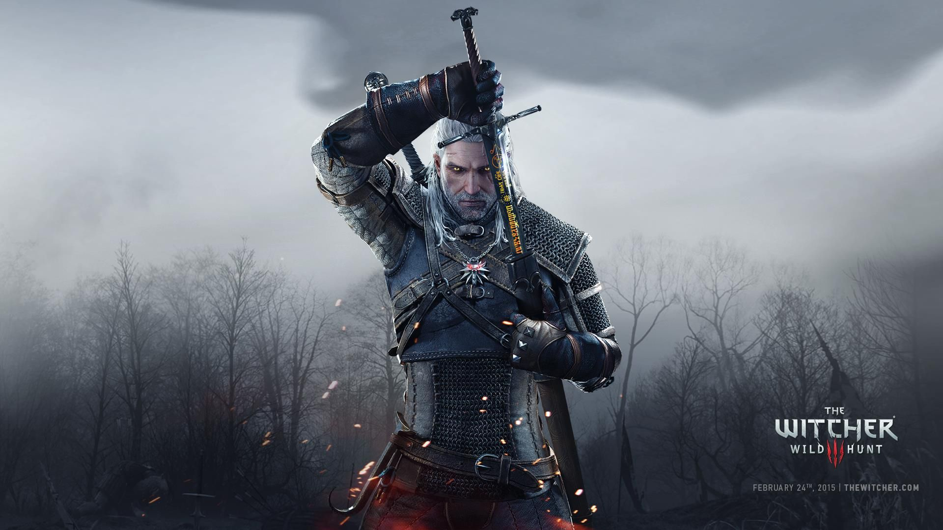 Wallpaper the witcher 3 geralt armor poster 1920x1080