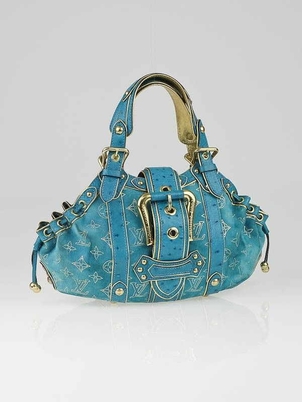 bf9745990ba3 Louis Vuitton Limited Edition Turquoise Monogram Suede Ostrich Theda GM Bag  SALE 2