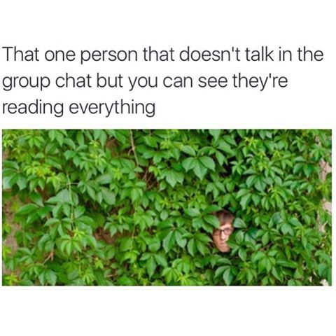 I Am That One Person Always I Am Always Listening Watching Reading Each And Every Situation Group Chat Meme Morning Humor That One Person