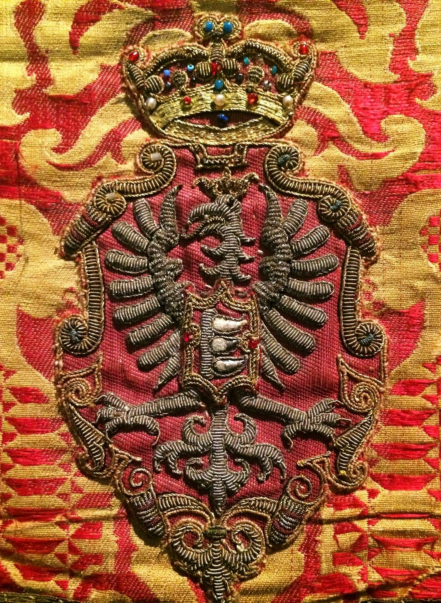 Detail Of A Chasuble Established By Stephen Bathory By Anonymous From Krakow Fabric From Florence 1570s Muzeum Skarbca Kat Bathory Gold Work Imperial Eagle