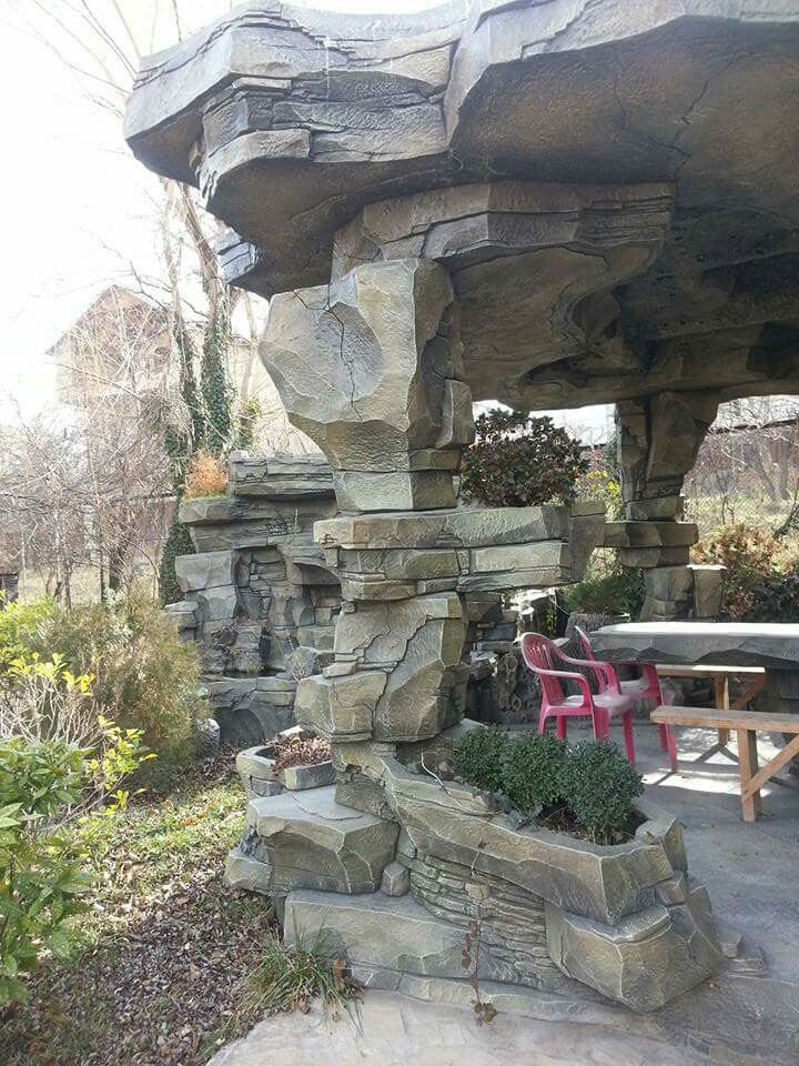 Awesome Idea For Patio Made With Cement Rocks Stone Wall Design Concrete Art Backyard