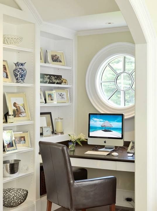 Nice Office Nook -- Love The Round Window! | Home Ideas | Pinterest ...