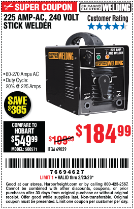 Chicago Electric 225 Amp Ac 240 Volt Stick Welder For 184 99 In 2020 Harbor Freight Tools Welding Cable Shielded Metal Arc Welding