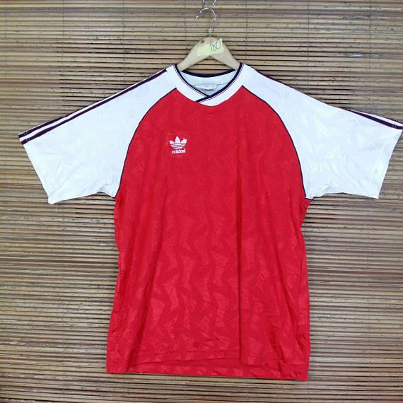 26896f93a Vintage 1990 s ADIDAS TREFOIL Jersey Xlarge Red Vintage Adidas Three  Stripes Arsenal Football Team Sportswear Raglan Jersey Size XL
