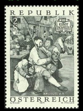 """Now this is more like it - quite a contrast to the previous Austrian stamp. This is an engraving of a part of Breugel's famous painting, """"Peasants Dancing."""" (The entire painting is shown on stamp no. 26.) The bagpipe is a basic type once found throughout the low countries, through Germany and into Austria and Switzerland. It is represented on our """"Bagpipes of the World"""" CD album, and can be seen in detail on this site at this location (use your browser's """"back"""" button to return here)."""