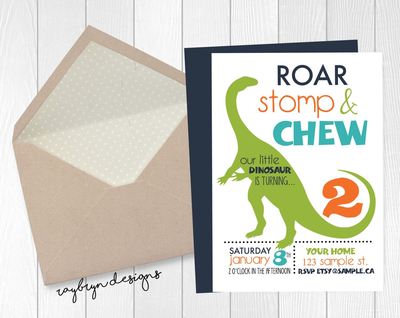 Roar, Stomp & Chew! | Cute Dinosaur theme birthday invitation | Turning 2…