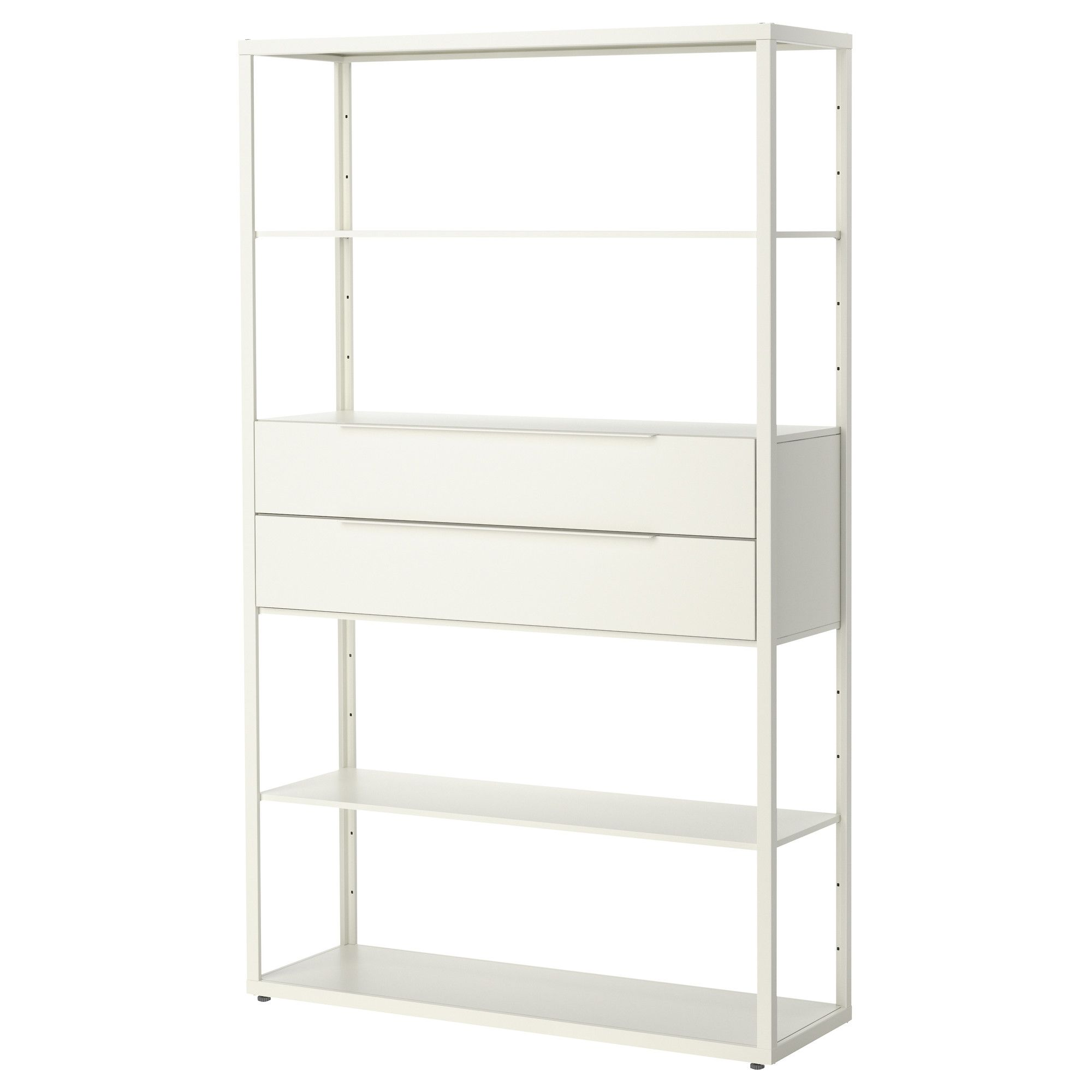 Ikea bookcase with glass doors  FJÄLKINGE Shelving unit with drawers white  Drawers