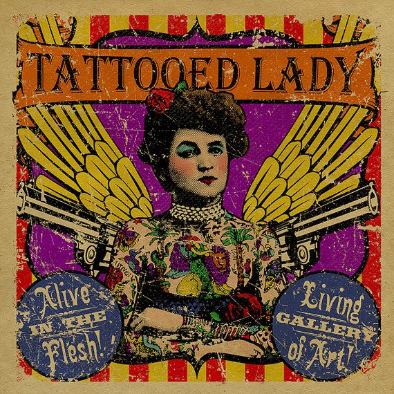 4 Freakshow Posters Bearded Lady Tattooed By UncleGertrudes 5000