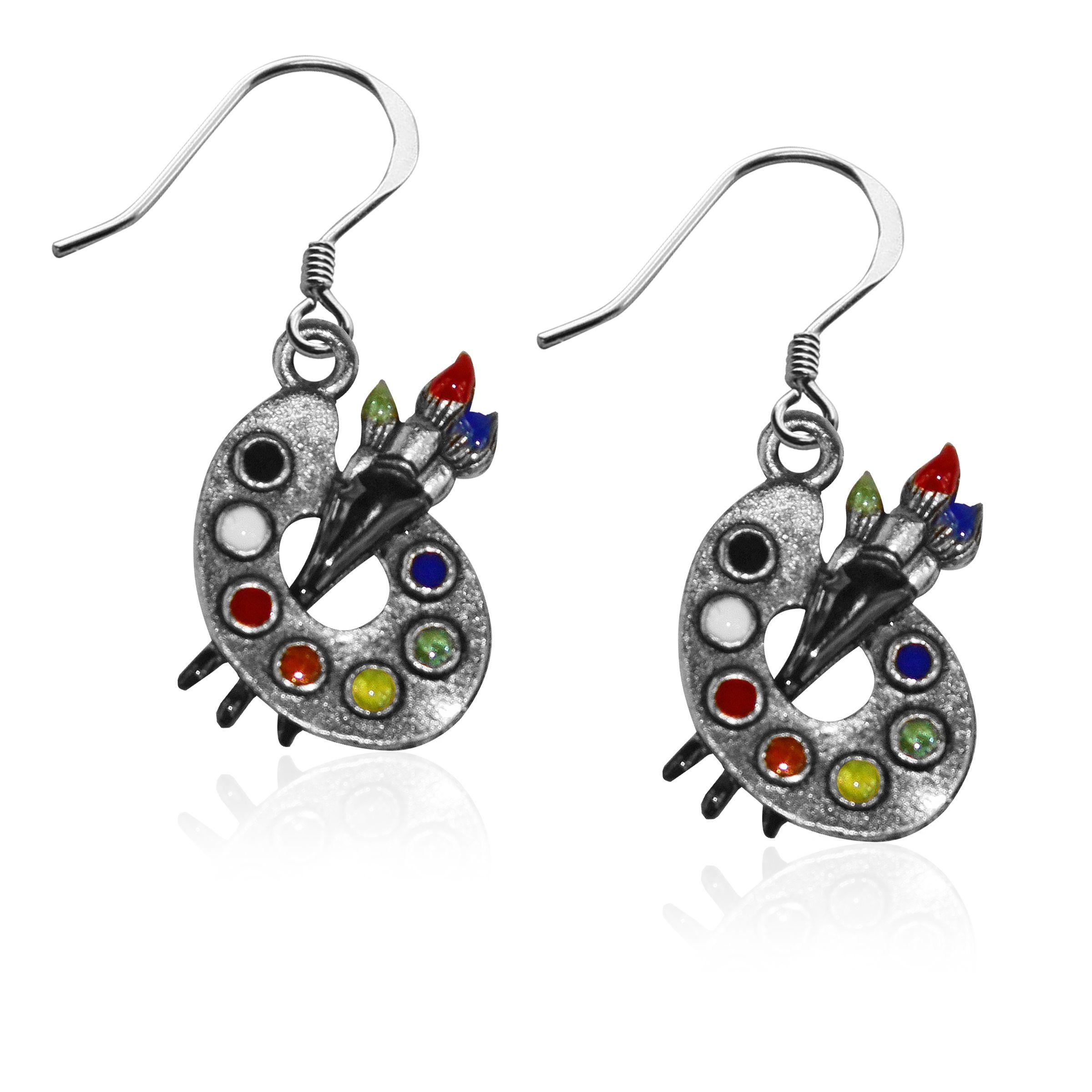 Artist Palette Charm Earrings in Silver Artist gifts