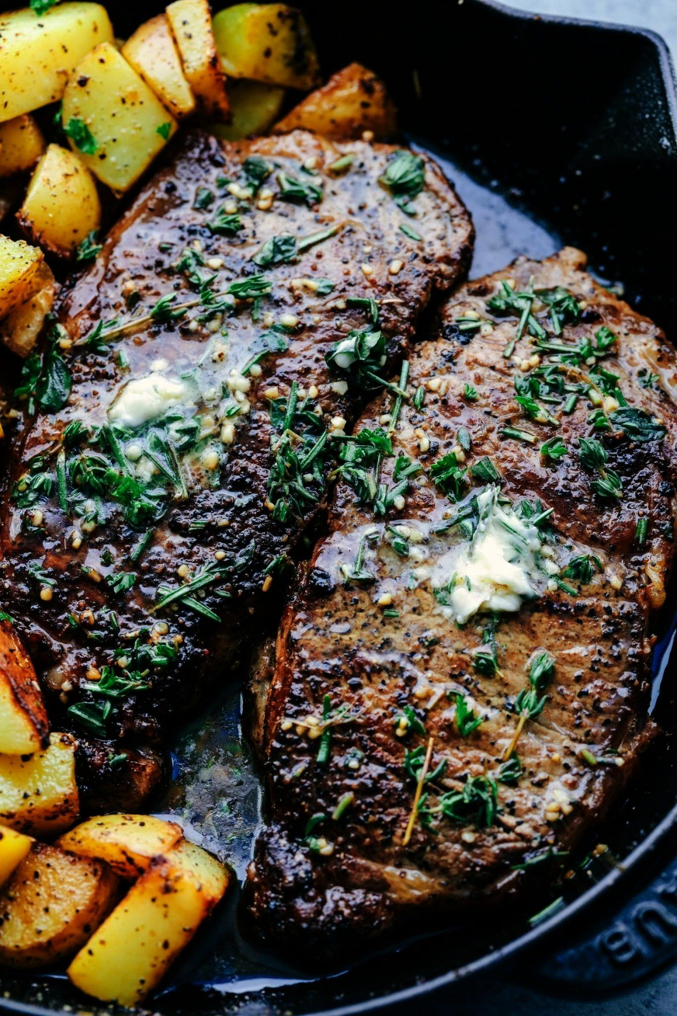 and cooked to perfection and topped with a garlic herb butter compoun... -  Pan seared and cooked t