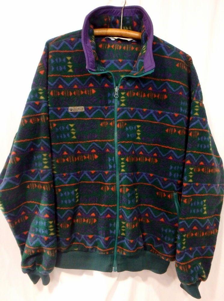 ab050e933b6 Men's VTG Columbia Full Zip Fleece Jacket Size XL Ski Snowboard Tribal  Aztec #Columbia #FleeceJacket
