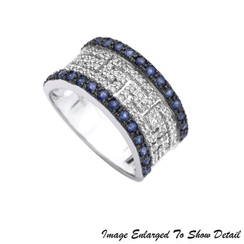 Fine Jewelry - Women's 14K Round Blue Sapphire And Diamond Ring In White Gold | Luther Appliance and Furniture