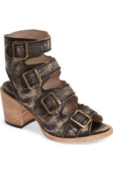 Freebird by Steven 'Quail' Open Toe Leather Bootie (Women) available at #