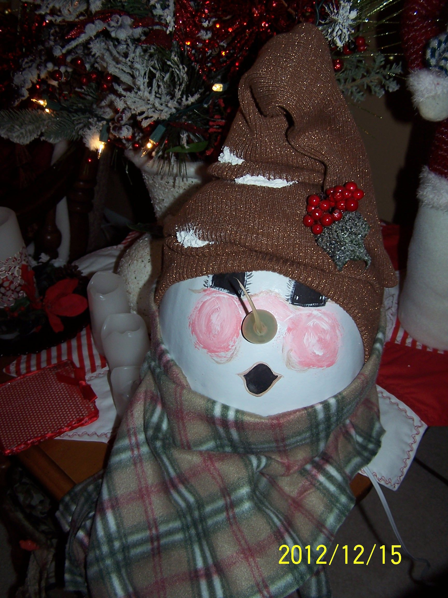 Snowman Head Made From A Goard