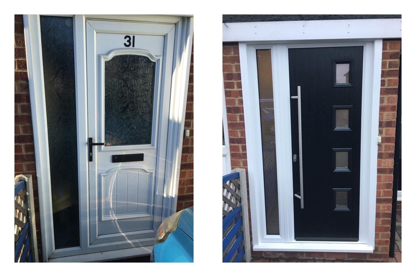 Black Composite front door with a white frame and a long bar handle ...