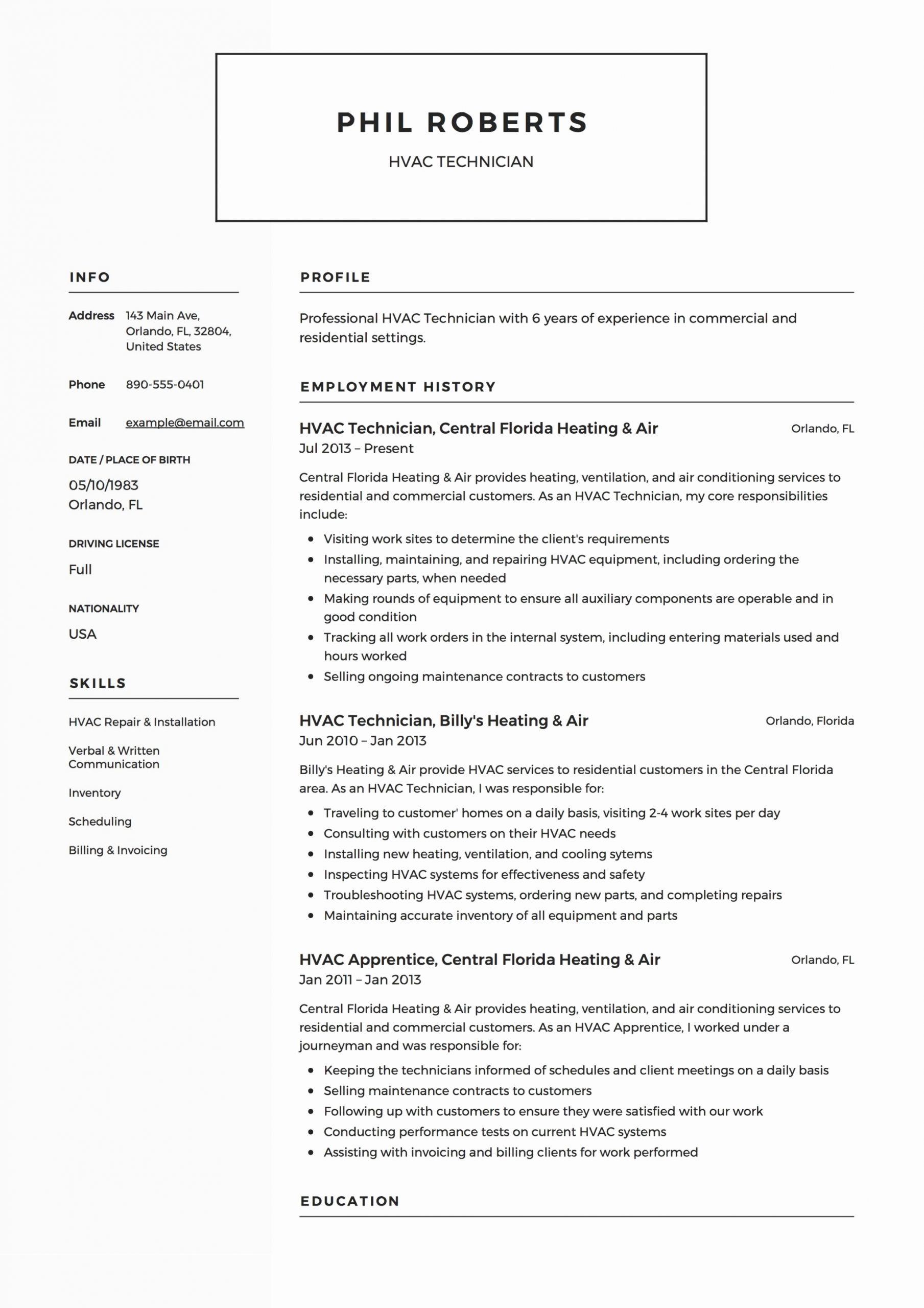 Hvac Technician Job Description Resume Best Of Hvac