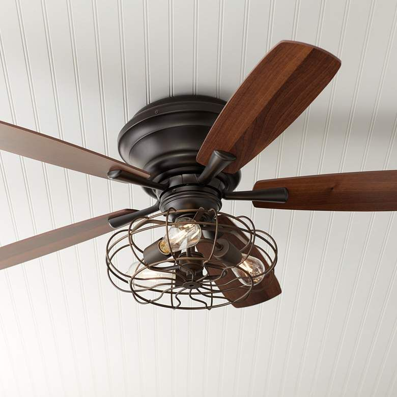 52 Oil Rubbed Bronze Hugger Ceiling Fan Led Cage Light 57t65 Lamps Plus Hugger Ceiling Fan Ceiling Fan Caged Ceiling Fan