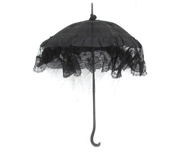 Victorian mourning parasol antique silk and lace parasol ...