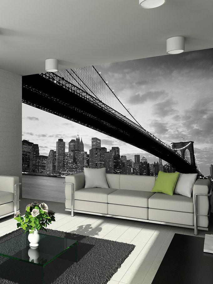 Brooklyn Bridge Skyline Wall Mural on Gilt