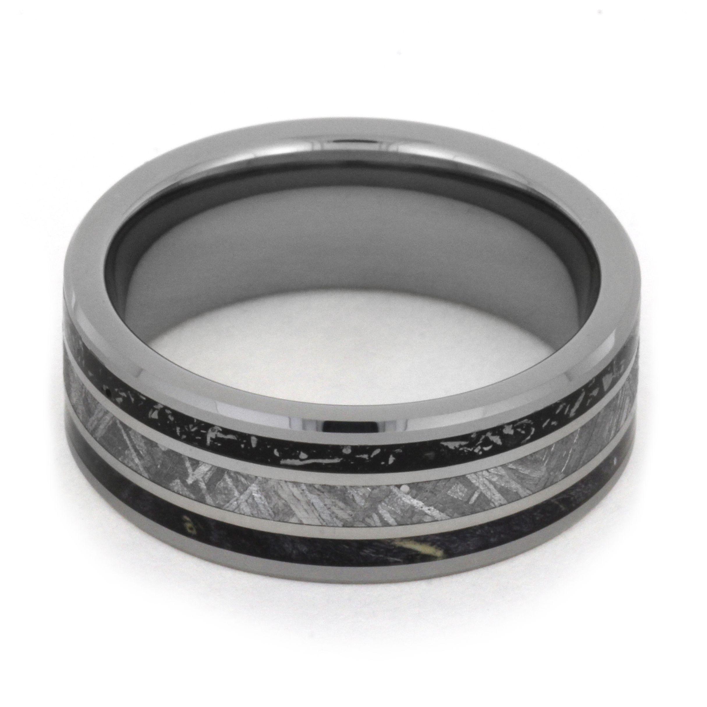 Tungsten Wedding Band with Black Stardust™, Meteorite and