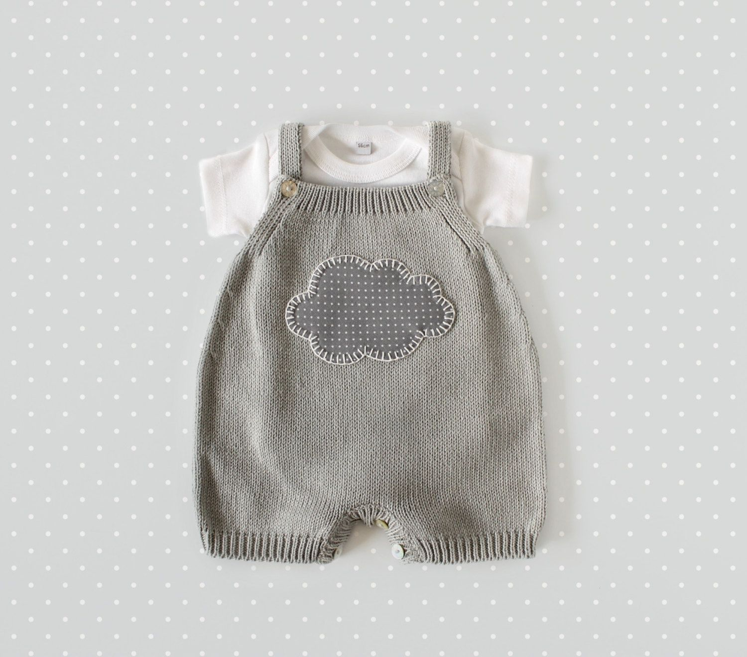 Knitted overalls in gray with a cloud. 100% cotton. READY TO SHIP ...
