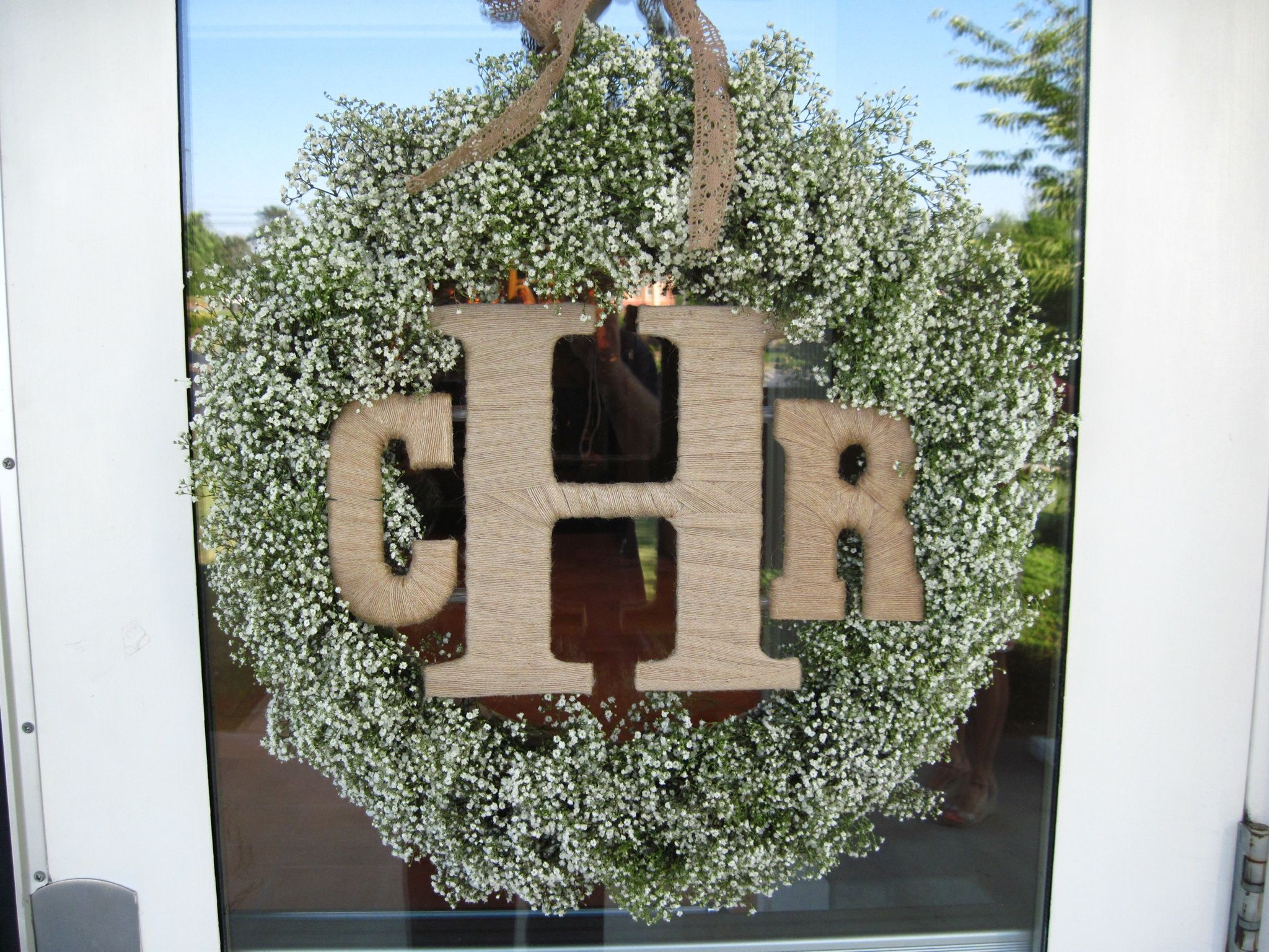 Baby\'s Breath wreath with burlap covered letters | wreaths ...