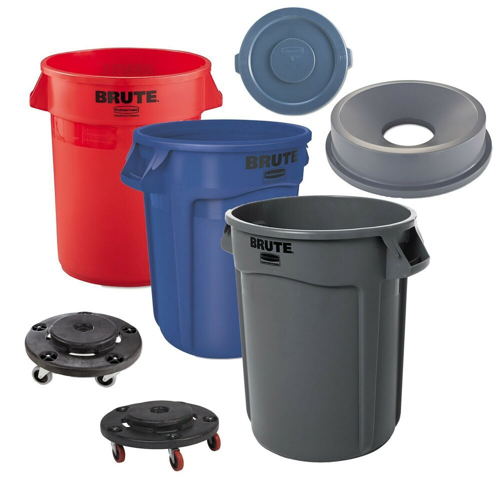Rubbermaid Plastic Trash Can 32 Gallon Garbage Funnel Lid Brute Commercial Dolly Trash Can Garbage Can Outdoor Trash Cans