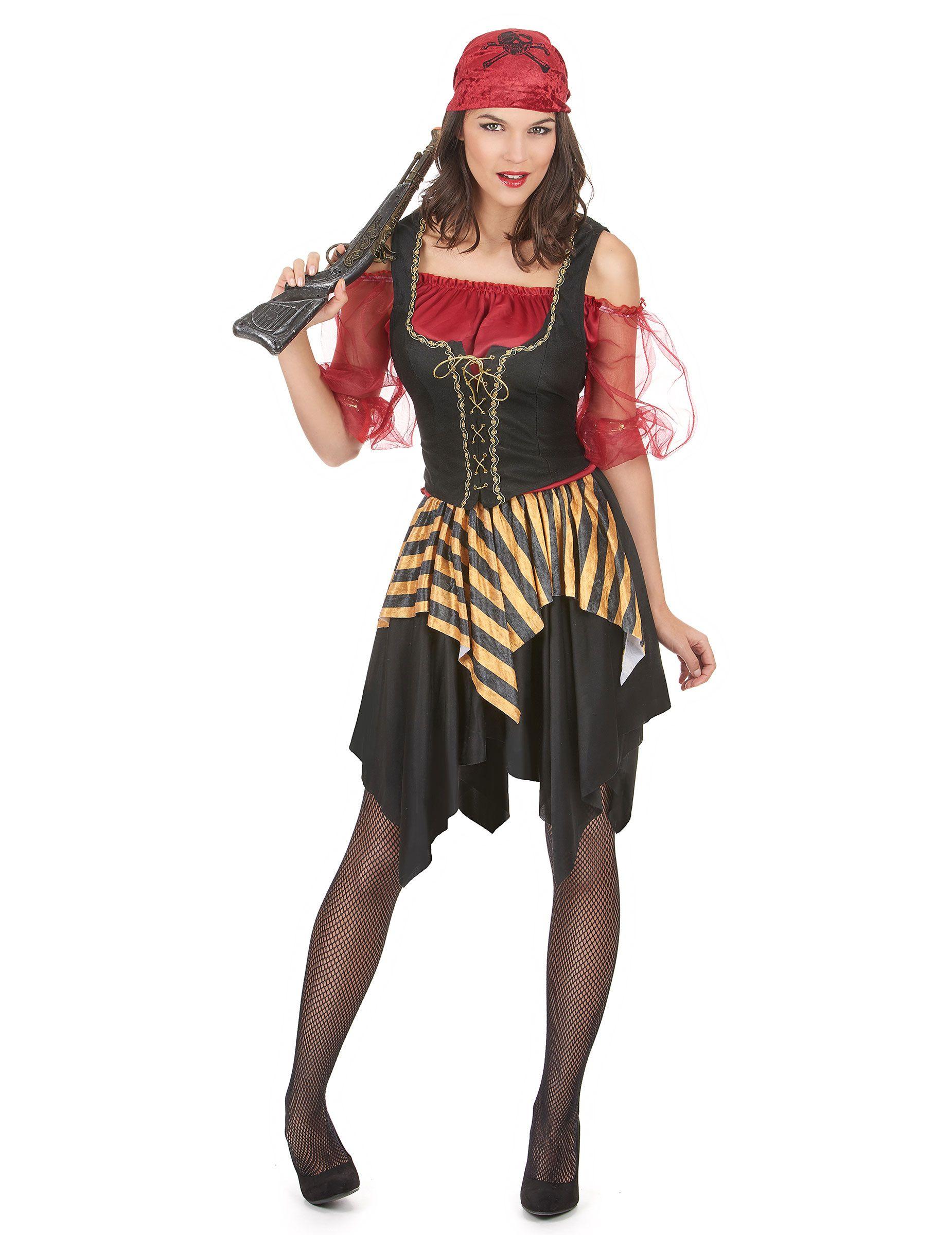 Costume pirata donna  Questo travestimento da pirata per donna è composto da  una maglia 54dbd77f1375