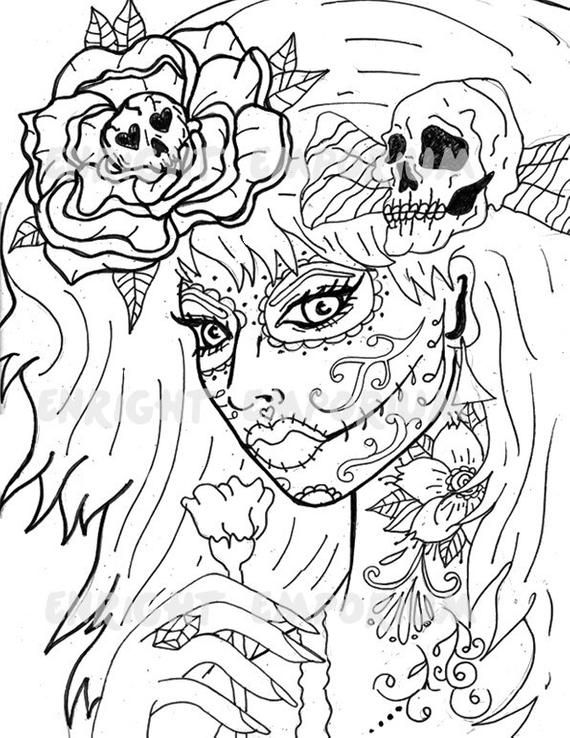 Day Of The Dead Girl Coloring Page Digital Download Products