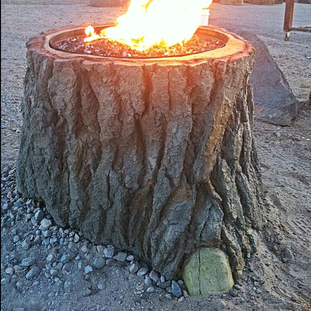 Tree Stump Fire Pit With Lp Tank Inside Stump Fire Pit Fire Pit Plans Outdoor Fire Pit Designs