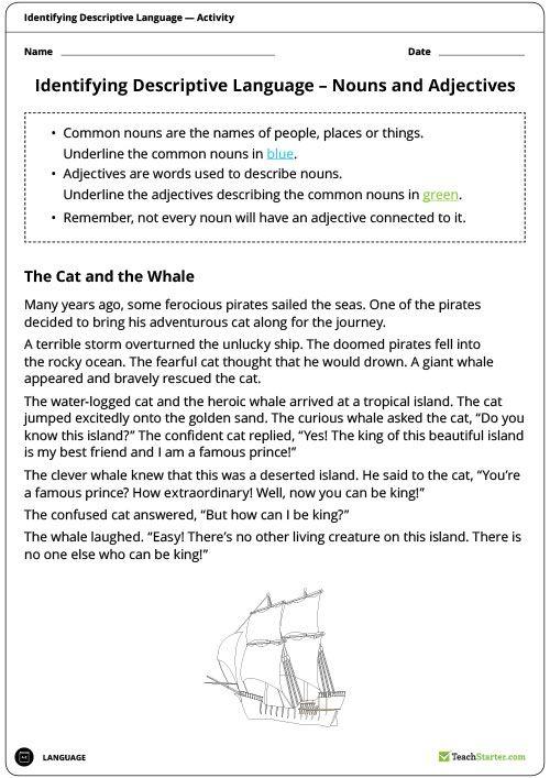 Identifying Descriptive Language Worksheets Nouns