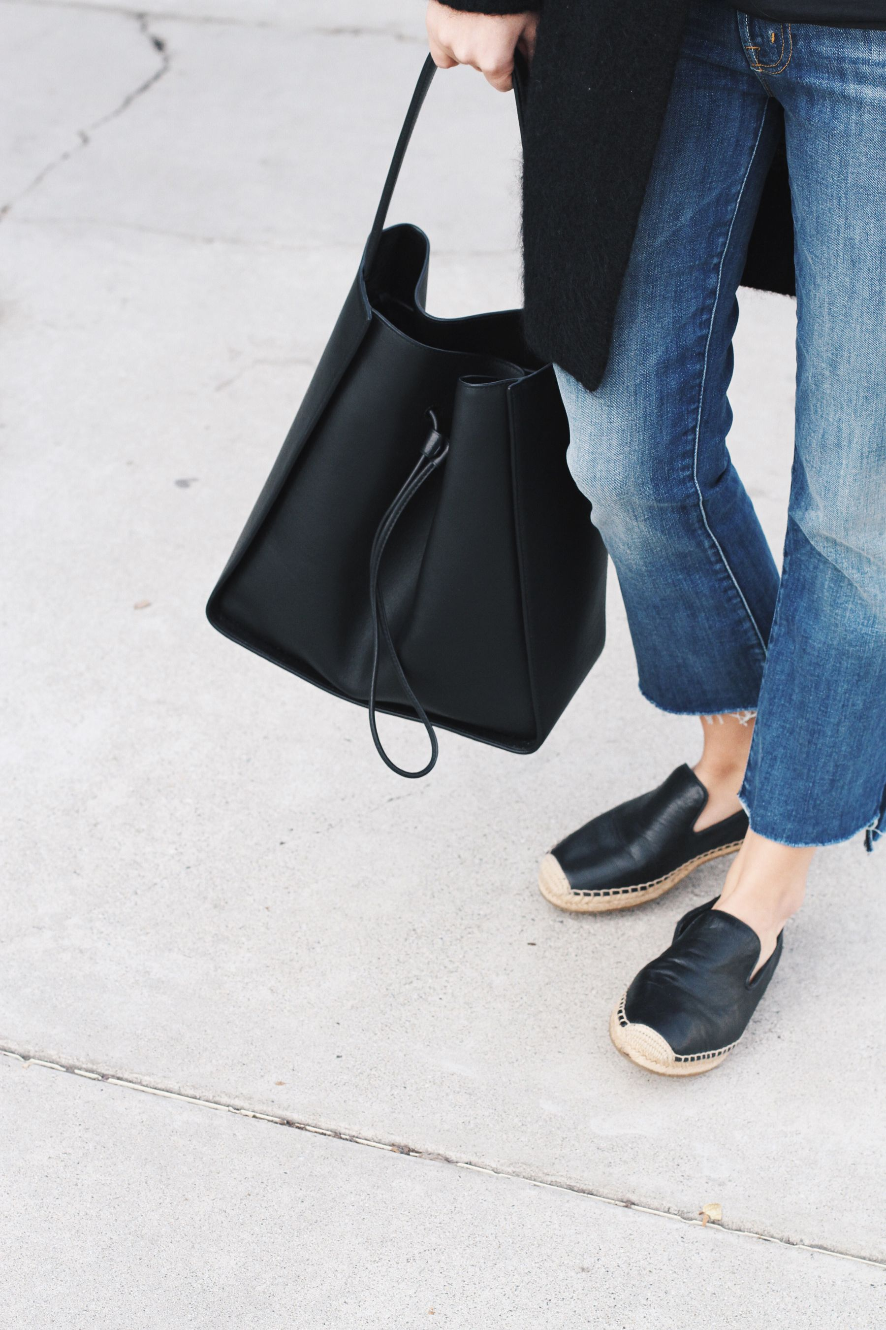 Mother Denim jeans, 3.1 Phillip Lim bucket bag & Acne Studios cardigan. Via Mija