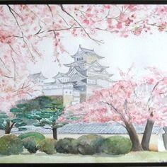 Tableau Chateau D Himeji Paysage Japonais 30x40 Cm Aquarelle